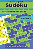 Sudoku variety pack. Easy, medium & hard puzzles: 100 puzzles. 6x9 travel size. Easy to carry: 3 (Travel Sudoku variety packs. On the go or at home !)