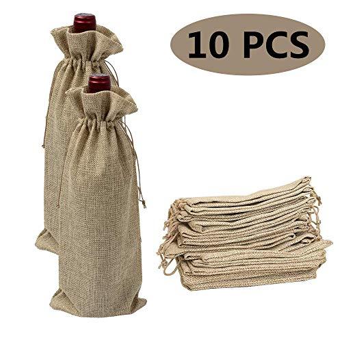 10 stücke Jute Wein Taschen, 35 * 15cm Wein Taschen Packung Geschenktüten Flaschentüten mit Kordelzug Sackleinen Flasche Wein Taschen Geschenktüten Weinbeutel, für Wein oder Champagner (Braun)