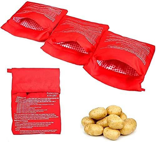 Yicare 3Pcs Kartoffel Mikrowelle Beutel Waschbar Wiederverwendbar Mikrowellenherd Kochtasche Schnelles Backen für Tortillas Maiskolben Express Backen Werkzeug