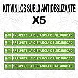 CUAC REVOLUTION Kit 5 Pegatinas Vinilo Suelo RESPETE LA Distancia DE SEGURIDA (600X53MM, Kit 5 Unidades)