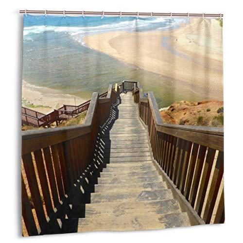 ZHENG Juego de Cortinas de baño para Cortinas de decoración de baño,Cortinas de baño de Tela de Escalera con Ganchos 180cmx180cm