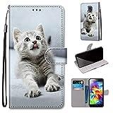 Miagon Flip PU Leder Schutzhülle für Samsung Galaxy S5,Bunt Muster Hülle Brieftasche Case Cover Ständer mit Kartenfächer Trageschlaufe,Grau Katze