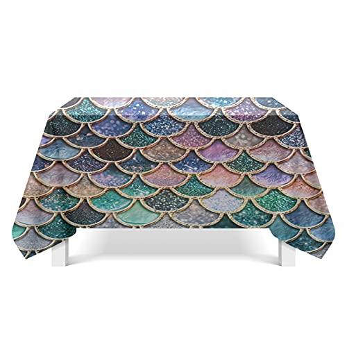 DSman Mantel Encerado Lavable Mantel Antimanchas Mantel a Prueba de Polvo para Interiores y Exteriores Arte de Textura de Escamas de Pescado