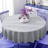 Diamonds - Tovaglia rotonda decorativa da tavolo con cristalli a forma di cuori, rettangolari e rombi disegnata a mano per parenti diametro 119,4 cm, blu grigio bianco