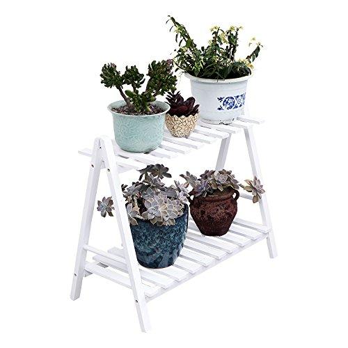 Simple style moderne en bois massif multi-étages fleur salon balcon étage fleur plateau blanc fleur stand (taille : 70 * 40cm)