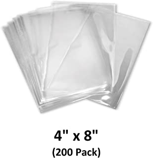 4x8 inch Odorless, Clear, 100 Guage, PVC Heat Shrink Wrap Bags for Gifts, Packagaing, Homemade DIY Projects, Bath Bombs, Soaps, and Other Merchandise (200 Pack) | MagicWater Supply