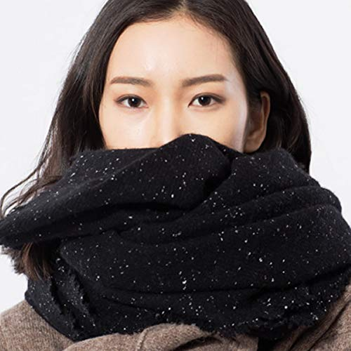CHENGWJ Sjaal Dames Dikke Zwarte Wol Grote Sjaal Vrouwen Mode Warm Herfst En Winter Sterren