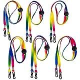 6 Stück Regenbogen Farben Mundschutz Lanyard, Verstellbare Lanyard für Kinder und Erwachsene, Ewiederverwendbar Ohrhalter Seil mit Karabinerhaken