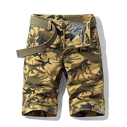 Katenyl Pantalones Cortos para Hombre Moda Streetwear Tendencia de Cintura Media Todo-fósforo Camping Senderismo Ocio Pantalones Cortos Rectos con botón y Tapeta con Cremallera 34