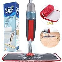 Fixget Mopa con Pulverizador, Spray Mop Fregona con Vaporizador con 2 La Almohadilla de Microfibra y 1 Botella Reutilizable, Mopa Spray Rotación de 360°(Rojo)