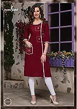 Pure Cotton Kurta & Kurtis Tops For Women Casual Wear-XL(Size)-Burgundy Red
