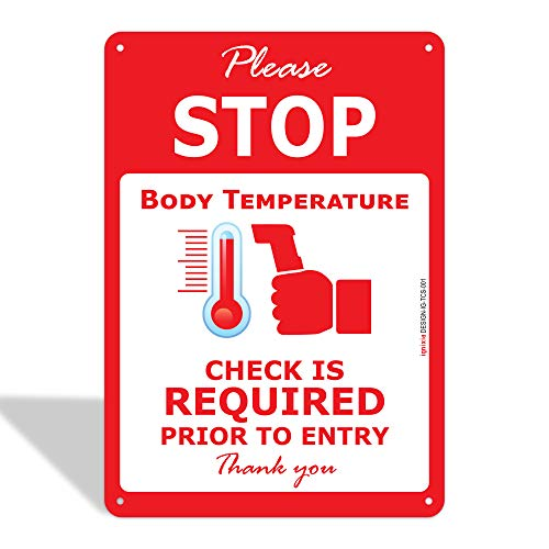 IGNIXIA Please Stop Temperature Check Station Sign, 0.4mm Rust Free Aluminium Stop Sign, Social Distancing Signs, 7x10 Inches, Please Stop Body Temperature check required sign Fade Resistant, Easy Mounting, Indoor/Outdoor Use Pack of 01 (PORTRAIT)