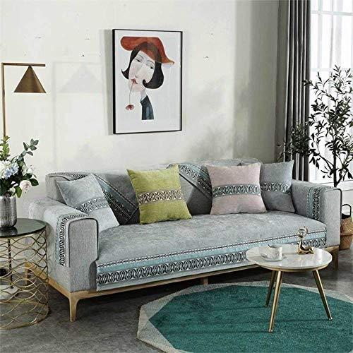YSODFQL Cojín de sofá cuatro estaciones tela de encaje de chenilla universal antideslizante funda de sofá universal de silicona cojín de sofá nórdico elastica/E / 110 * 110cm