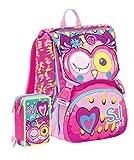 Schoolpack Zaino Scuola Seven SJ Gang Girl Animal Rosa + Astuccio Completo 3 Zip