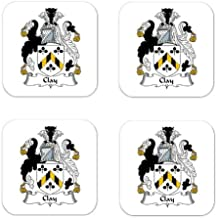 MyHeritageWear.com Clay Family Crest Square Coasters Coat of Arms Coasters - Set of 4