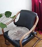 HEITMANN runde Sitzauflage aus australischen Lammfellen, Fellkissen rund Taupe, Ø ca. 45 cm, waschbar, Haarlänge ca. 70 mm