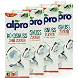 Alpro - 4er Pack Kokosnussdrink ohne Zucker 1 Liter - Kokosnuss Drink ungesüßt - Kokos Coconut 100 % pflanzlich