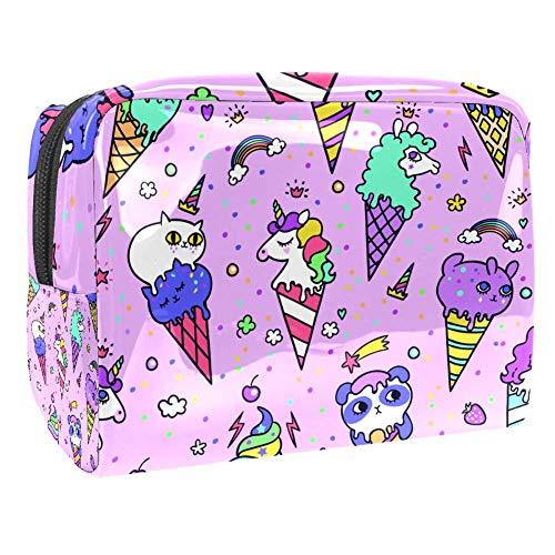 Maquillage Cosmetic Case Multifunction Travel Toiletry Storage Bag Organizer for Women - Cute Animal Ice Cream Rainbow