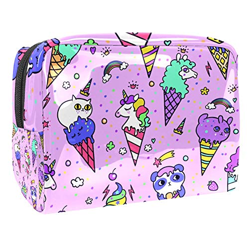 Maquillage Cosmetic Case Multifunction Travel Toiletry Storage Bag Organizer for Women - Cute Animal Ice Cream Rainbow