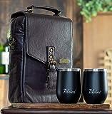 Tilvini Isolierte Weintasche aus echtem Leder mit 2 Edelstahl-Weingläsern Leder Weintasche für 2 Flaschen Wein Reisetasche Luxus Weintasche Picknicktasche Strand Kühltasche Weingeschenk für Männer