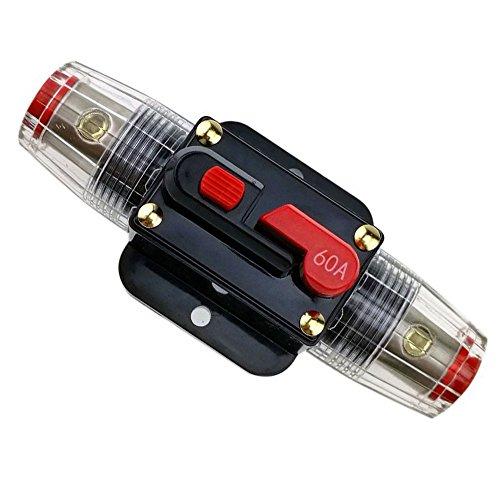 Rkurck, interruttore di circuito 12V-24V DC 20A 30A 40A 50A 60A 80A 100A 150A, portafusibile, blocco fusibile in linea, per audio automobile, inverter solare, protezione sistema