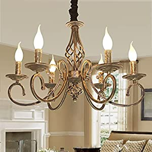 Ganeed Rustic 6-Light Chandeliers,French Country Vintage Chandelier,Metal in Antique Bronze Pendant Chandelier,Pendant Light Fixture for Island Kitchen Farmhouse Dining Room Living Room