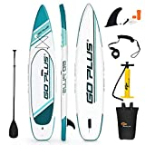 "Goplus Expedition Inflatable Stand Up Paddle Board, 6"" Thick SUP with Accessory Pack, Adjustable Paddle, Carry Bag, Bottom Fin, Hand Pump, Non-Slip Deck, Leash and Repair Kit (Green, 11 FT)"