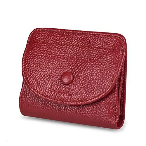 Yi-xir Bolso favorito de las señoras pequeñas carteras mujer carteras sin retención cartera de cuero de vaca literal, bolso de garantía, bolso diagonal (color: rojo, tamaño: A)