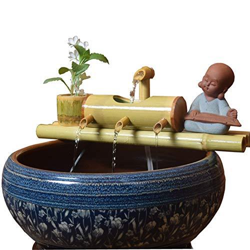 WishY Bambusbrunnen, Garten im japanischen Stil, Moderne Dekoration, Handgefertigt, für den Innenhof des Teichaquariums Verwendet,11.81in