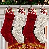 Paquete de 4 calcetines de Navidad de 45,7 cm con tejido de punto de ochos, para decoración de fiestas familiares y Navidad, color crema y burdeos