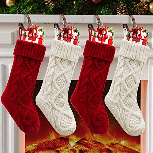 Christmas Stockings, 4 Pack Christmas Stocking 18 Inches Large Cable Knitted Stocking Decorations for Family Holiday Xmas Party Decor, Cream and Burgundy
