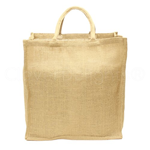 "CleverDelights 10 Pack Natural Burlap Shopping Bags - 16"" x 17"" x 8"" - Cotton Handles - Burlap Tote Bag"