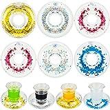 10 Piezas Portavasos Inflable Posavasos Confetis de Taza de Beber Flotadores de Piscina para Suministros de Fiesta de Piscina Verano y Juguete de Baño Ducha Divertida