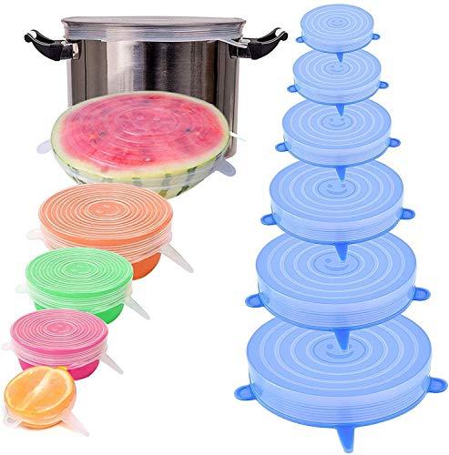 ARM: Silikondeckel Die Alternative zu Alufolie und Frischhaltefolie/Wiederverwendbare Universal Deckel für Lebensmittel und Behälter/BPA freies Silikon 6 Stück (Blau)