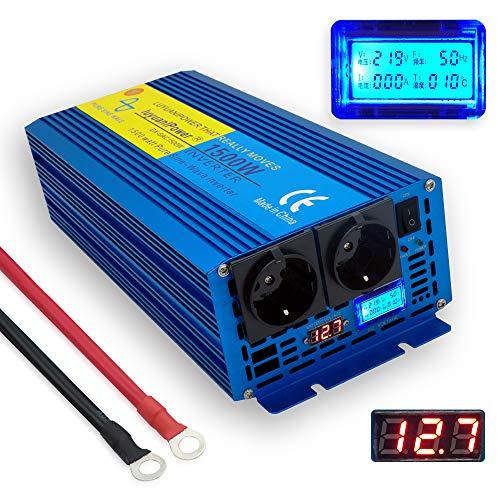 Yinleader Spannungswandler 1500W/3000W 12V 230V Reiner Sinus Wechselrichter LED+LCD Power Inverter mit 2 Steckdose und LCD-Display, für Auto, Wohnwagen, Boot, Camping, Reisen