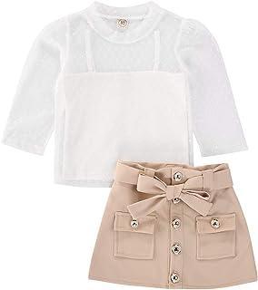 Ensemble pour fille 3 pièces T-shirt en tulle + Sling Top + Jupe Kaki avec ceinture de nœud de 6 mois à 4 ans