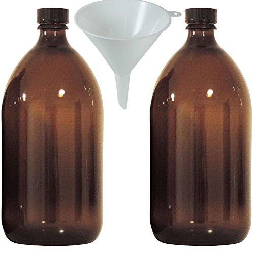 2x enghals Botella 1000ml de marrón cristal Incluye Bote de rosca, farmacéutico, laboratorio Botella, Medicina, braunglasf lengüeta–Fabricado en Alemania & sin BPA–Incluye Embudo