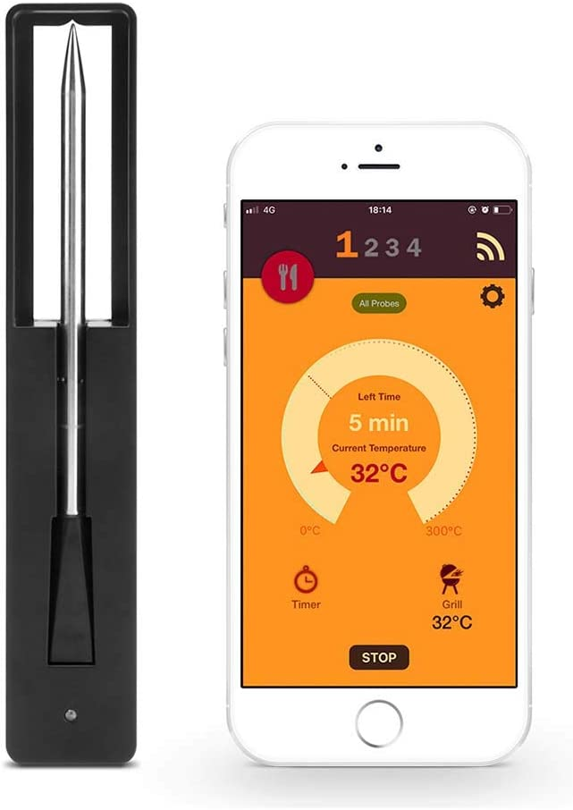 QYH Wireless Smart Luxury lowest price Meat Thermometer Charging with USB L Function
