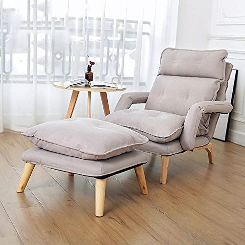 Silla de sofá de algodón, cómoda Silla de sofá Individual, sillón de computadora, Usado en Dormitorio Leyendo Sala de Estar-Gris