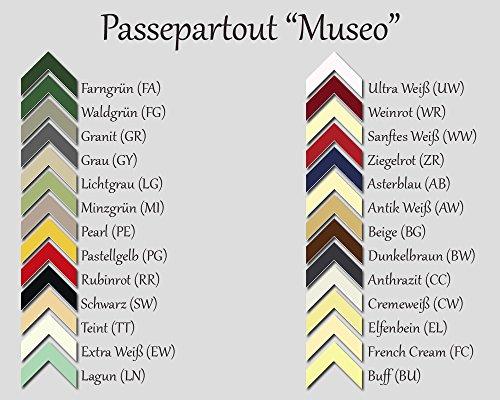 RahmenMax Passepartout MUSEO bis Außenmaß 50,0 x 70,0 cm. Individueller Zuschnitt nach Ihren Angaben - 26 Farben. Aktuelle Auswahl: Cremeweiß