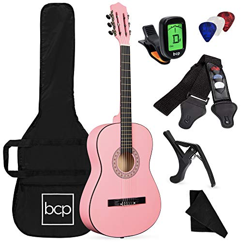 Best Choice Products 38in Beginner All Wood Acoustic Guitar Starter Kit w/Case, Strap, Digital Tuner, Pick, Strings - Pink