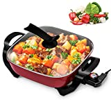 COOKTRON Nonstick Electric Skillet, 12' Square Electric Fry Pan with Glass Lid & Temperature Control Electric Cooker for Grill, Simmer, Steam and Stew, 5.2QT, Red