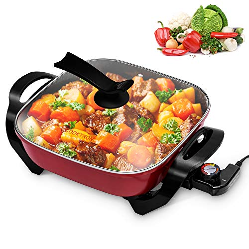 COOKTRON Nonstick Electric Skillet, 12' Square Electric Pan with Glass Lid & Temperature Control Electric Cooker for Grill, Simmer, Steam and Stew, 5.2QT, Red