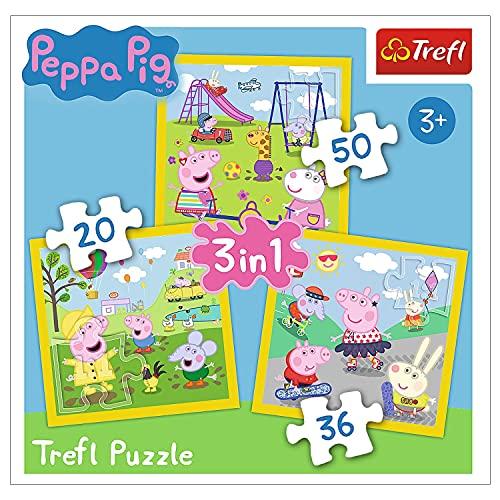 Trefl, Puzzle, Fröhlicher Tag von Peppa Wutz, von 20 bis 50 Teilen, 3 Sets, für Kinder ab 3 Jahren