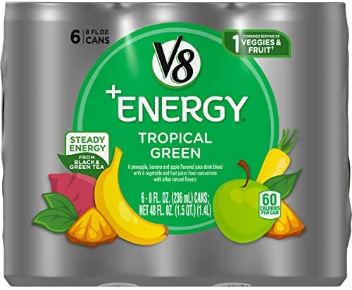 V8 Energy Healthy Energy Drink Natural Energy from Tea Tropical Green 8 Fl Oz Pack of 6 product image
