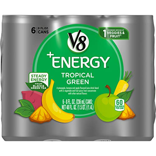 V8 +Energy Healthy Energy Drink, Natural Energy from Tea, Tropical Green, 8 Fl Oz Can (6 Count (Pack of 4), Total of 24)
