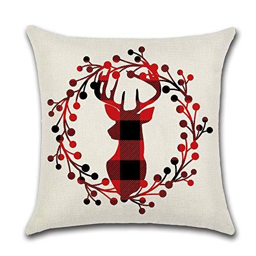 FGHSD Red Plaid Christmas pillowcase 18×18 Inch Cotton And Linen Decoration Printing Christmas Tree, Sofa Cushion Cover Christmas Decorations Throw Pillowcase