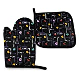 Oven Mitts and Pot Holders Sets,Retro Pacman Game Kitchen Non-Slip Heat Resistant and Washable for Cooking Baking Grilling and BBQ Decorative Baking Kitchen Gift