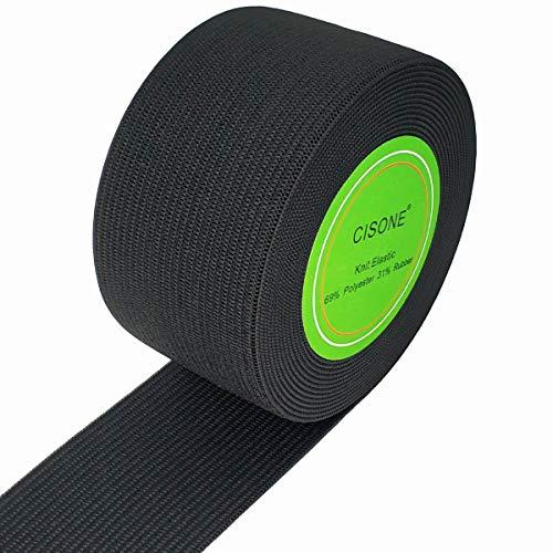 Knit Elastic 1.5 Inch Wide Black Heavy Stretch High Elasticity Knit Elastic Band 5 Yards