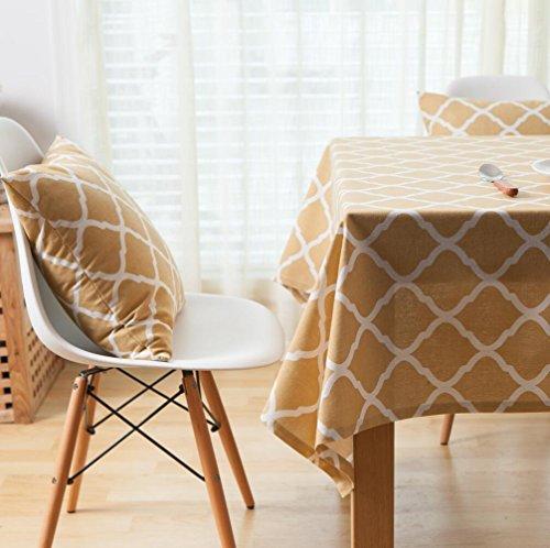 Geel ruit geometrische katoenen linnen tafelkleed, salontafelkleed tafelkleed tafelkleed